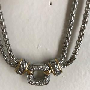 Sterling Silver & Gold Necklace, Pave Diamonds